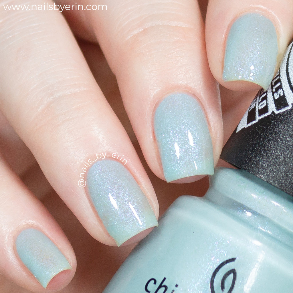 China Glaze Chill In Symphonyville light blue shimmer nail polish swatch Trolls World Tour Collection