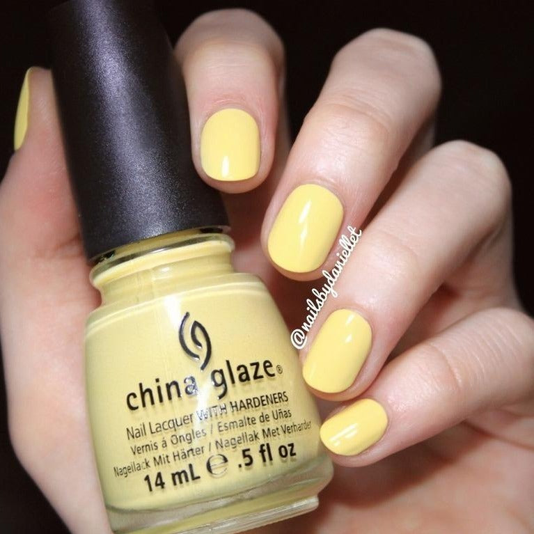 China Glaze Lemon Fizz pale yellow creme nail polish swatch