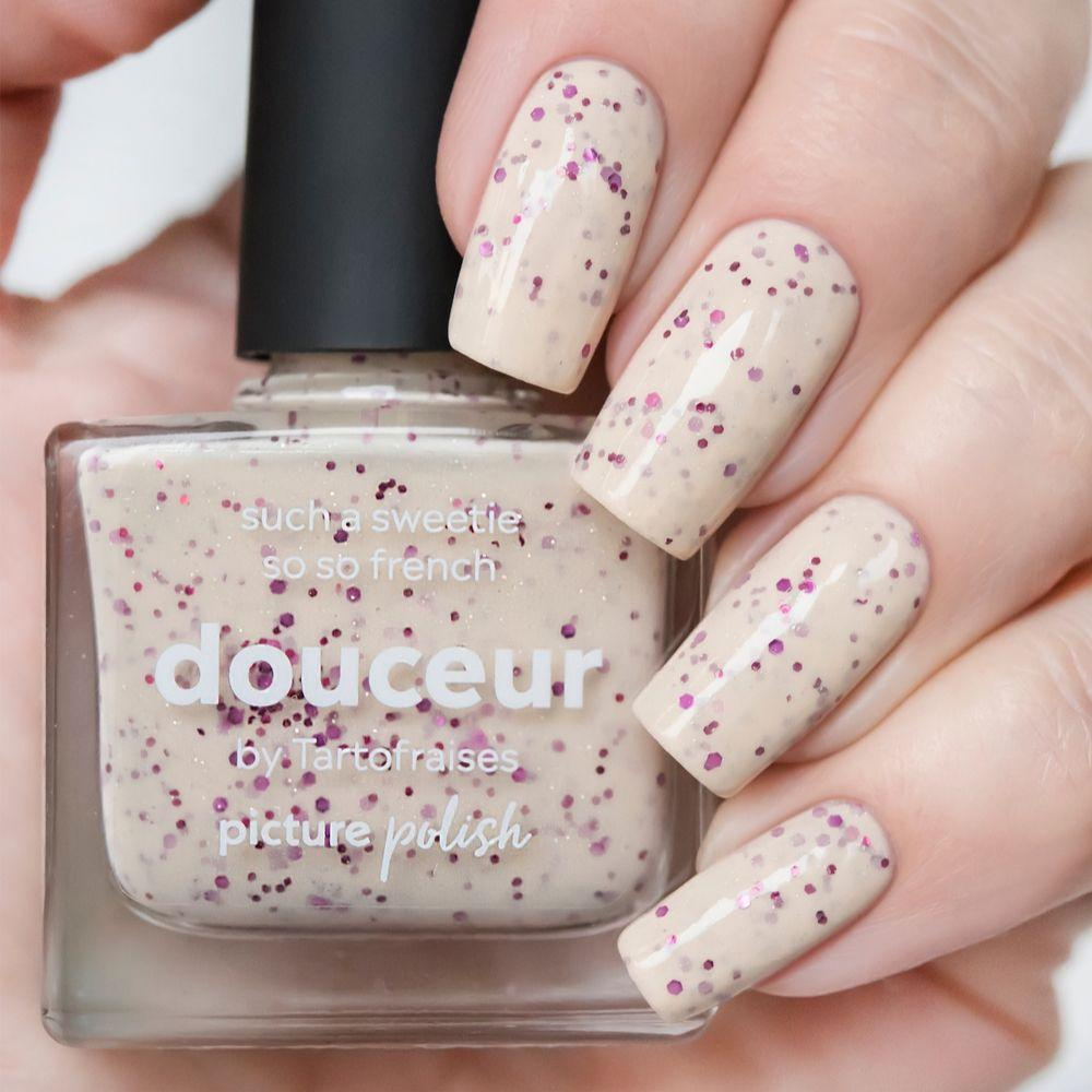 Picture Polish Douceur french pink holographic nail polish with holo flakes + magenta and mulberry hex glitters