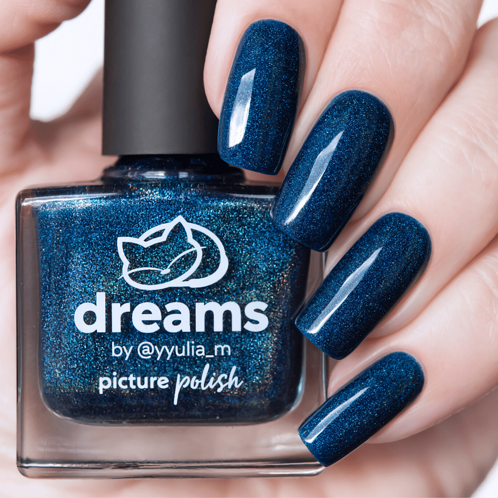 Picture Polish Dreams navy blue holographic nail polish
