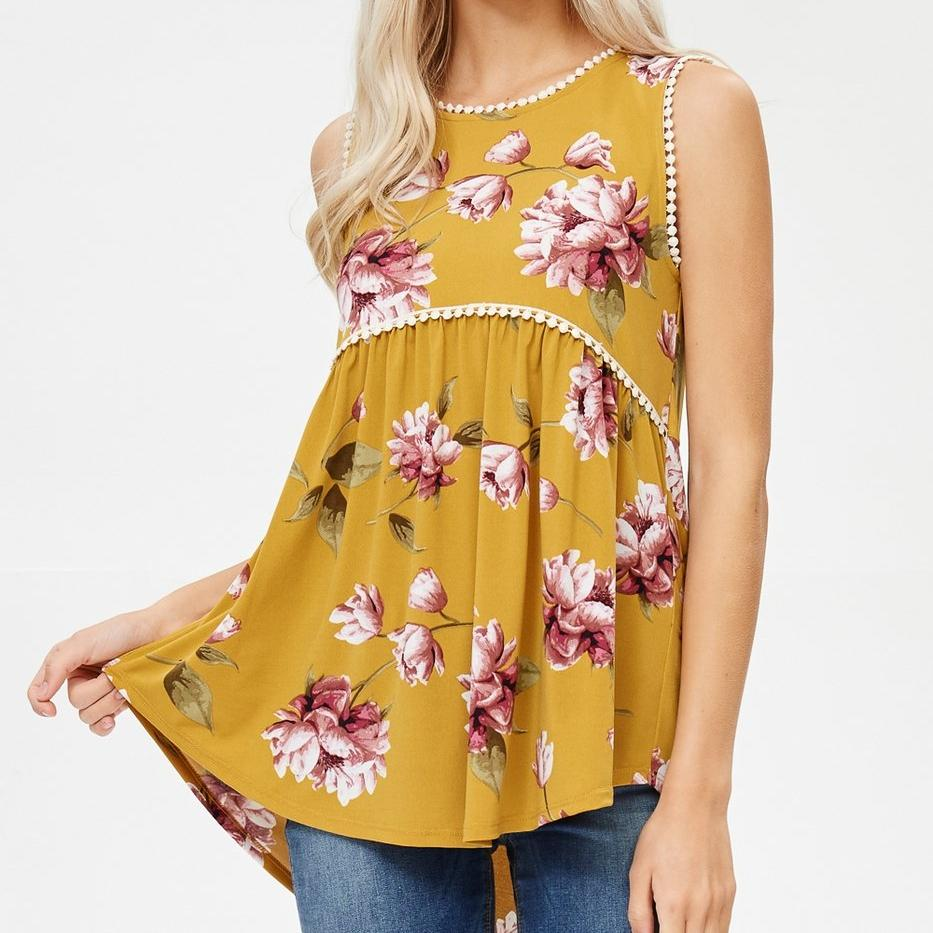 Crochet Trim Floral Print Tunic Top
