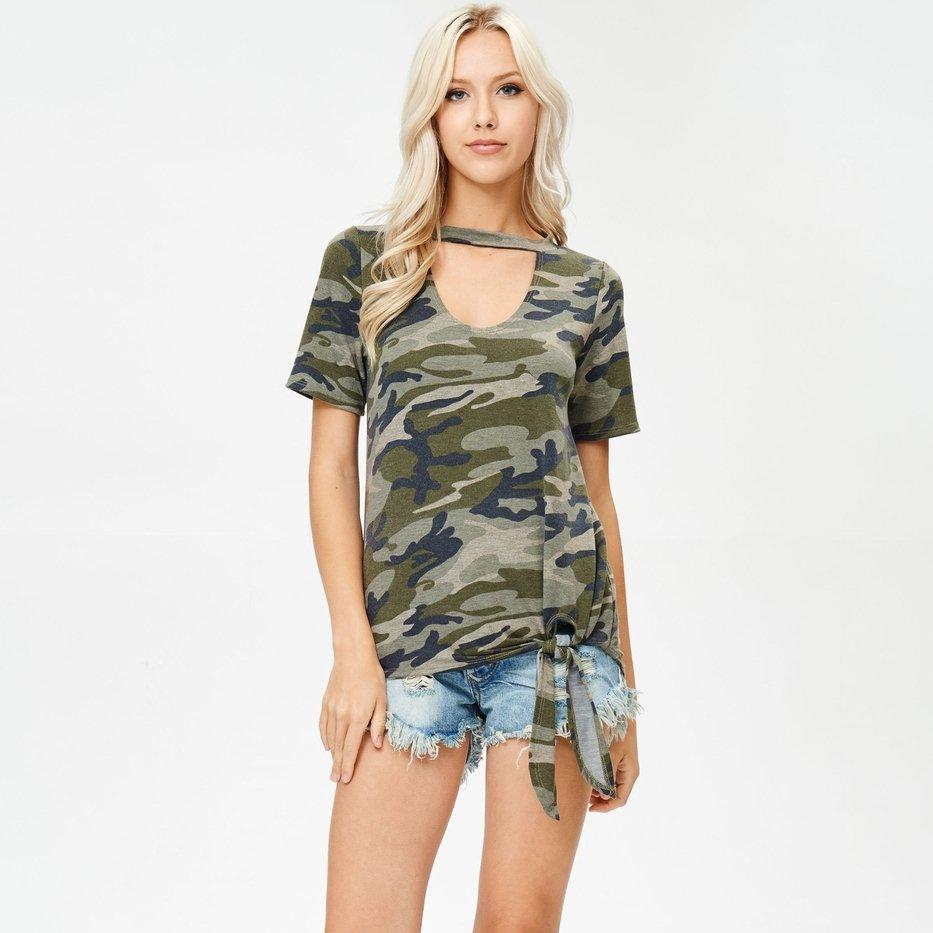 Front Knot Camo Top