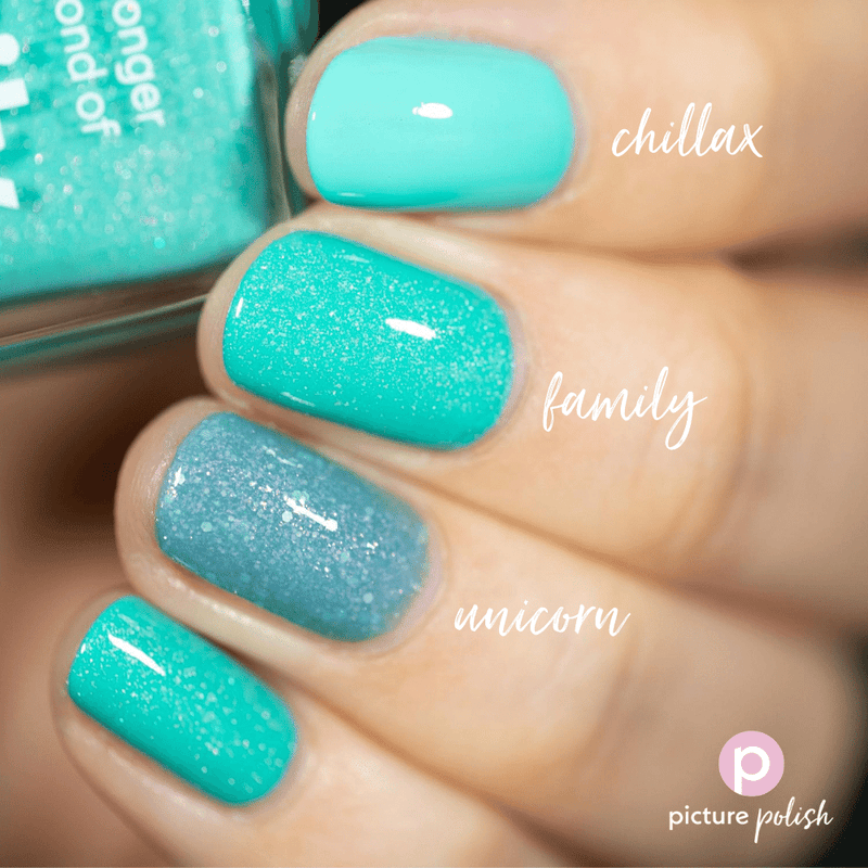 Picture Polish Family seafoam green holographic nail polish swatch comparison