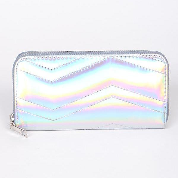 Silver holographic quilted wallet Canada