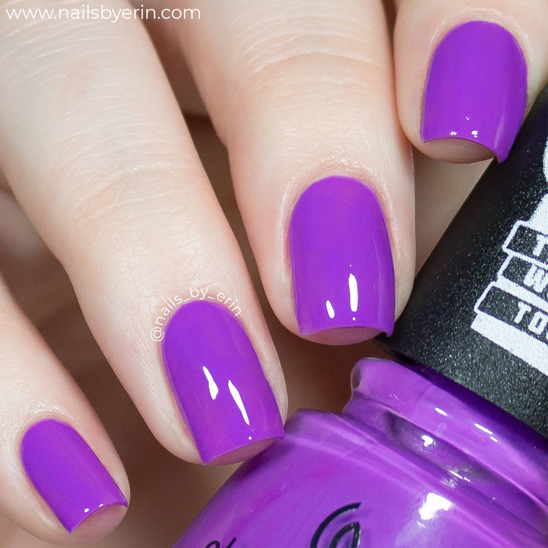 China Glaze Funky Beat vibrant purple creme nail polish swatch Trolls World Tour Collection