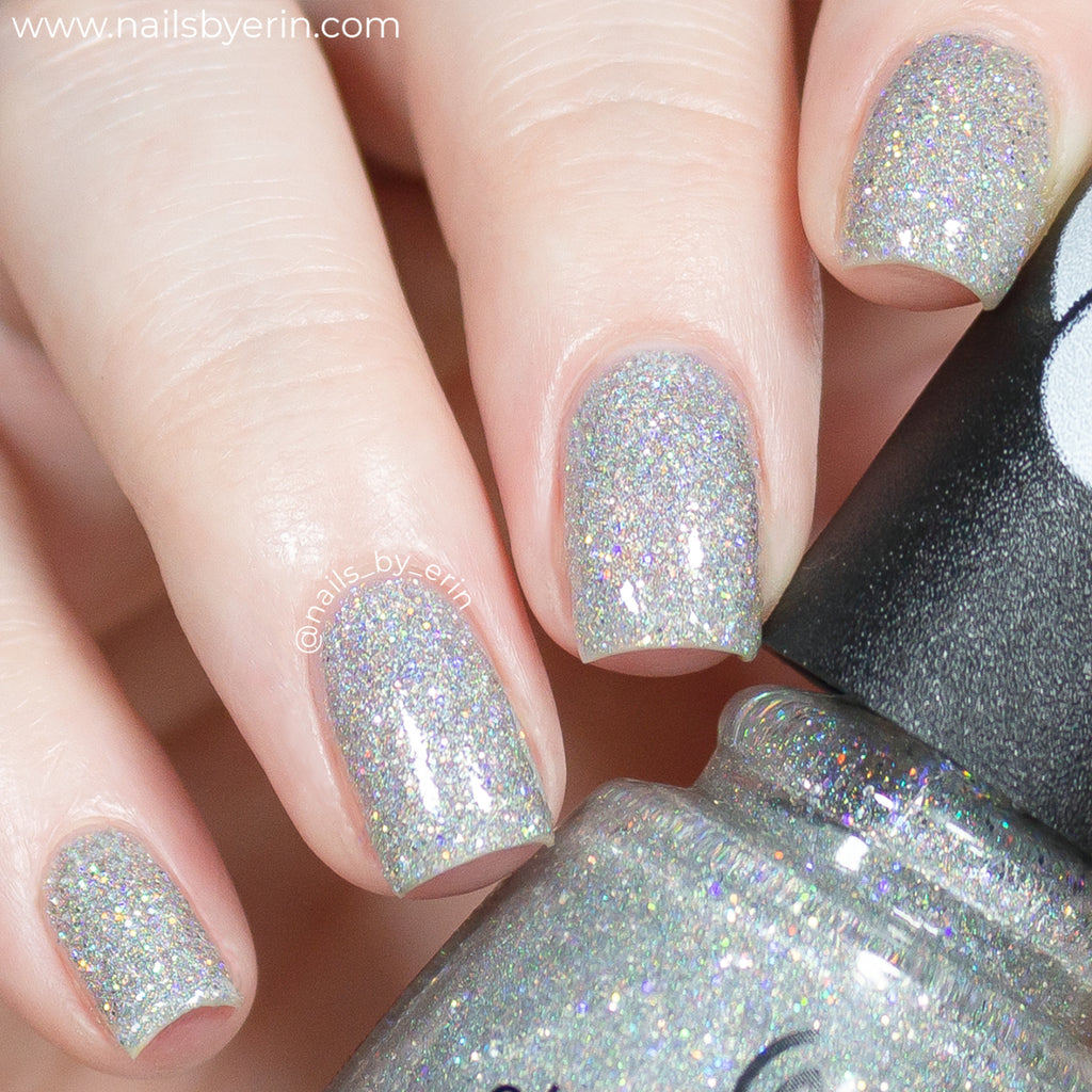 China Glaze Glitter-iffic silver holographic glitter nail polish swatch Trolls World Tour Collection