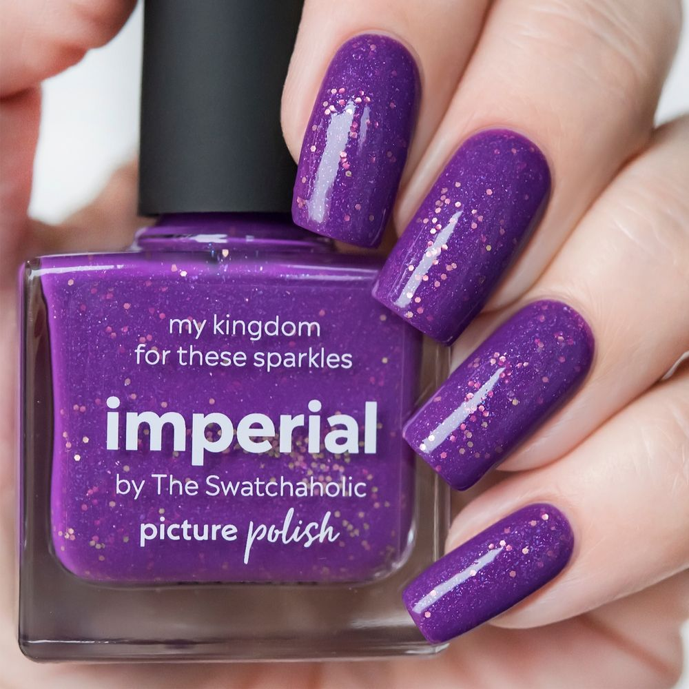 Picture Polish Imperial electric purple holographic nail polish with holo flakes + gold hex glitters