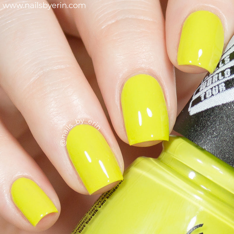 China Glaze It's All Techno chartreuse creme nail polish swatch Trolls World Tour Collection
