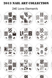 Pueen Love Elements Nail Art Plate Set