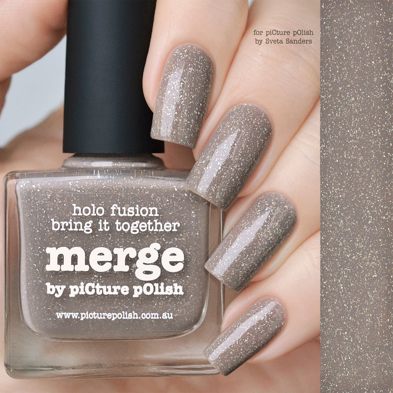Picture Polish Merge grey brown holographic nail polish
