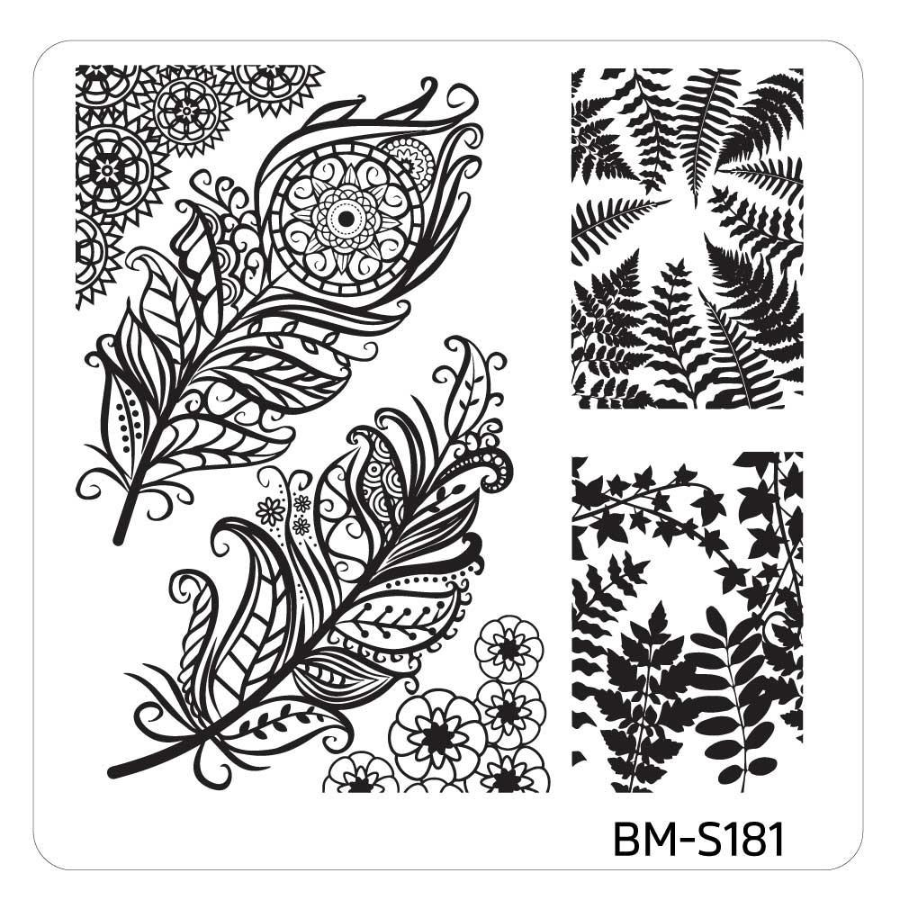 Mystic Woods Stamping Plate - Leafy Feathers