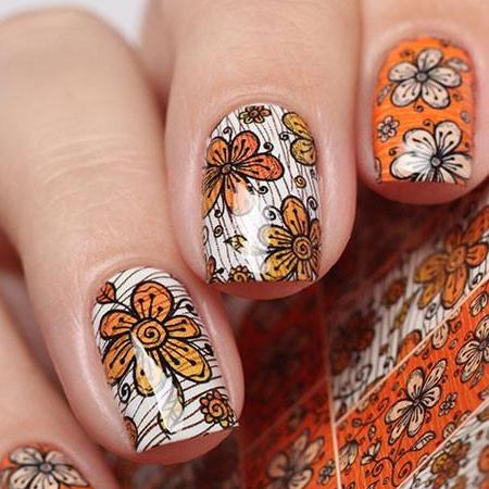 Orange Autumn Floral Water Slide Decal