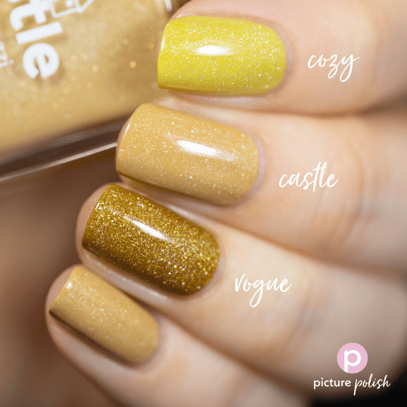 Picture Polish Castle sand yellow holographic nail polish swatch comparison