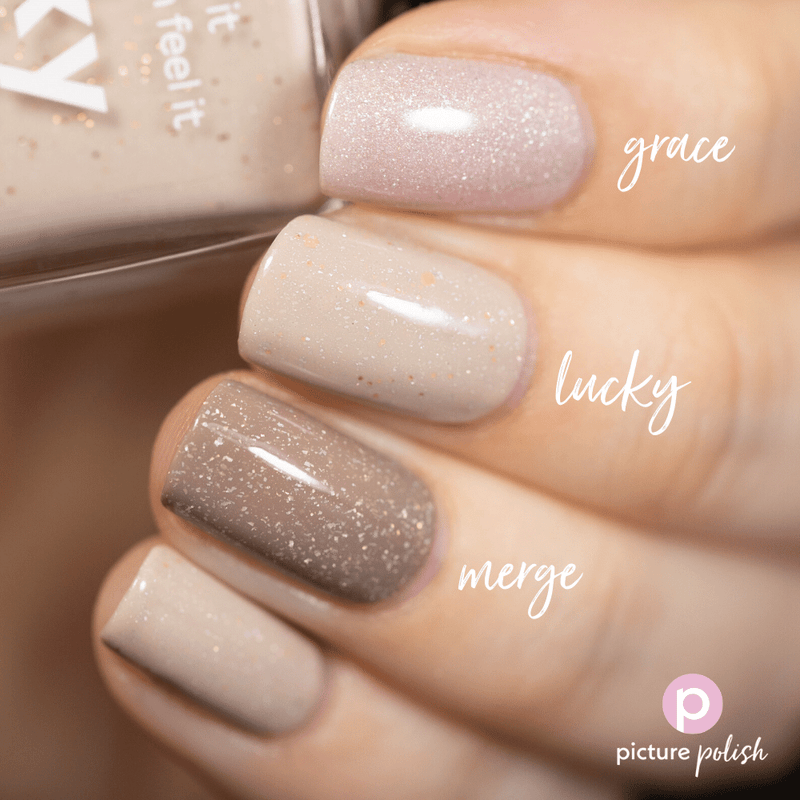 Picture Polish Lucky nail polish swatch comparison