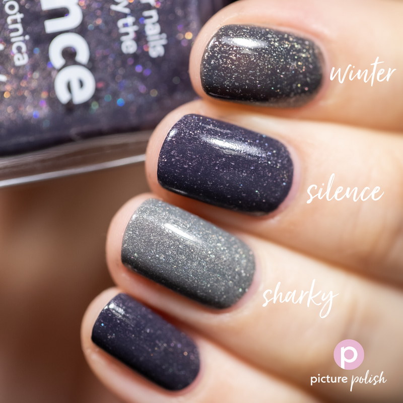 Picture Polish Silence dark grey holographic nail polish swatch comparison