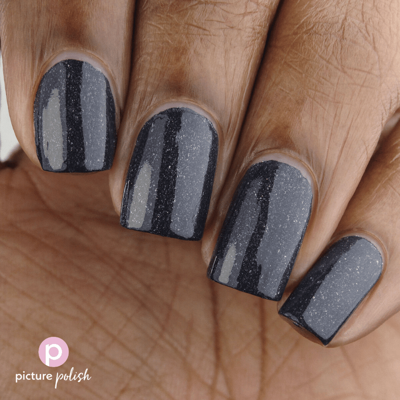 Picture Polish Silence dark grey holographic nail polish swatch