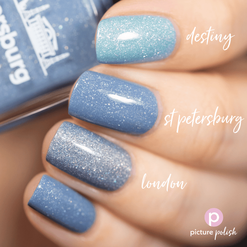 Picture Polish St Petersburg pewter blue holographic nail polish swatch comparison