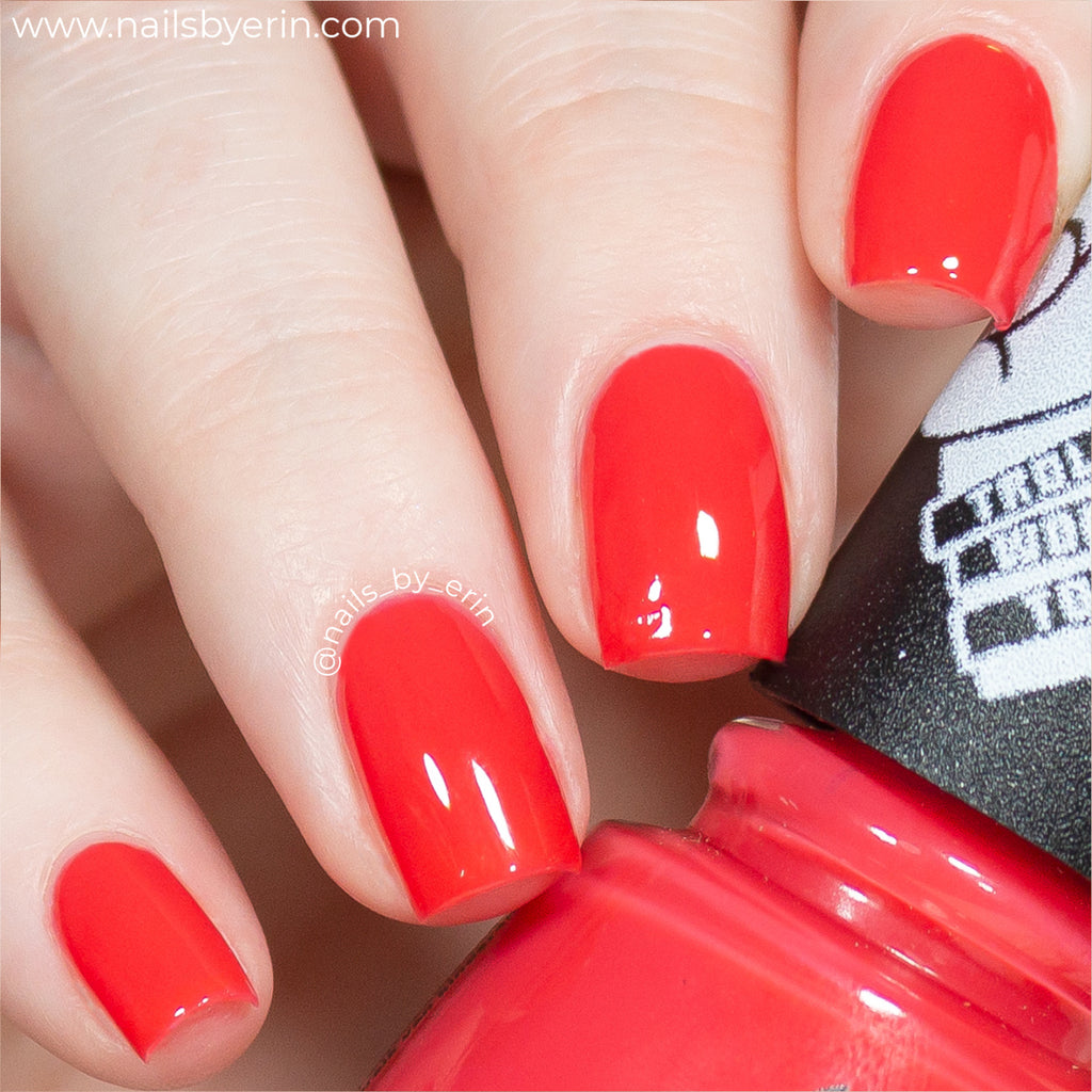 China Glaze No-Holds Barb bright orange-red jelly nail polish swatch Trolls World Tour Collection