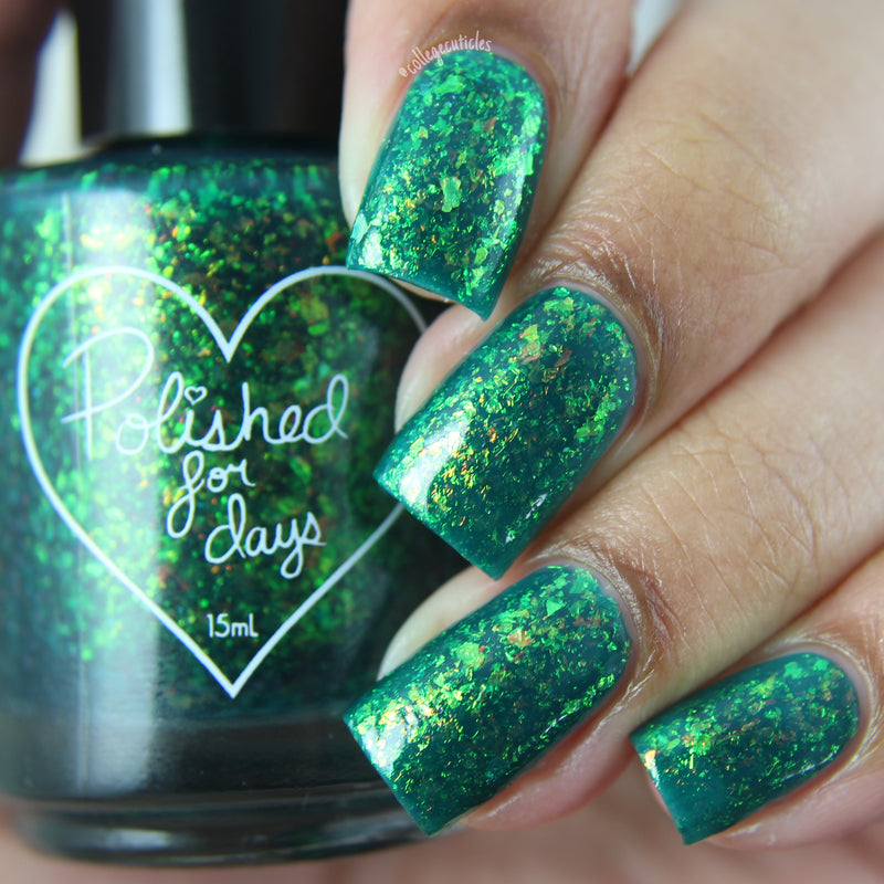 Polished for Days Clover green iridescent flakie nail polish swatch Enchanted Woods Collection