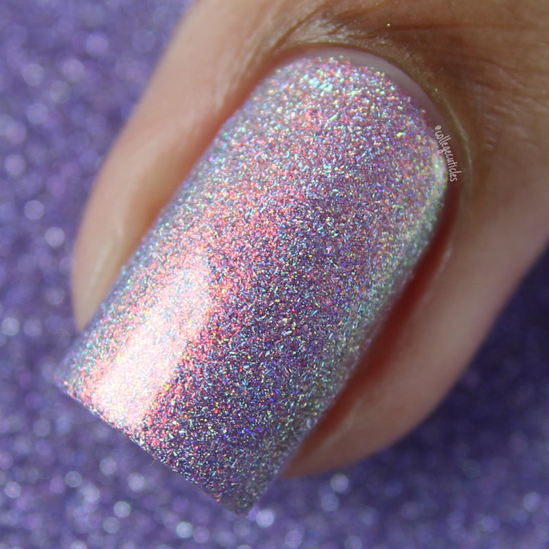 Polished for Days Solasta pink-purple holographic nail polish swatch Enchanted Woods Collection