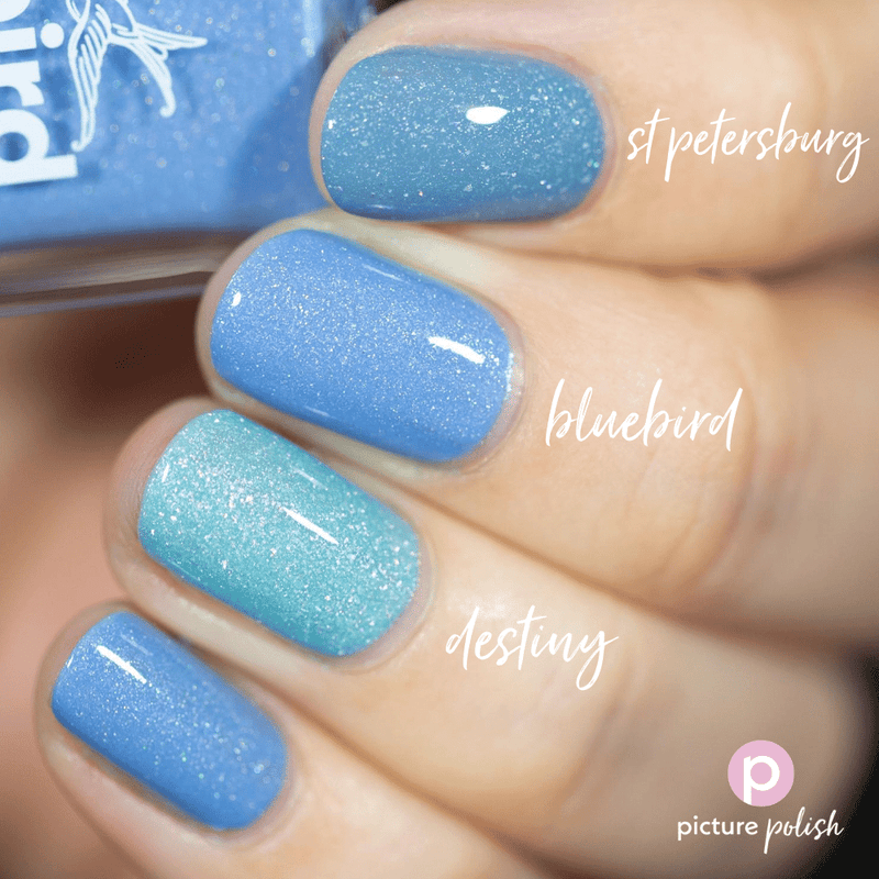 Picture Polish Bluebird periwinkle blue holographic nail polish swatch comparison