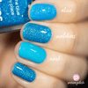 Picture Polish Maldives cyan blue holographic nail polish swatch comparison