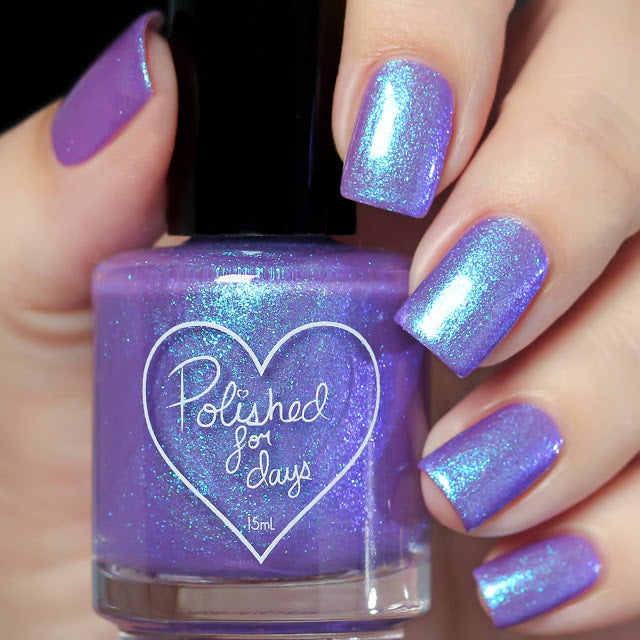Polished for Days Klaia purple blue shimmer nail polish