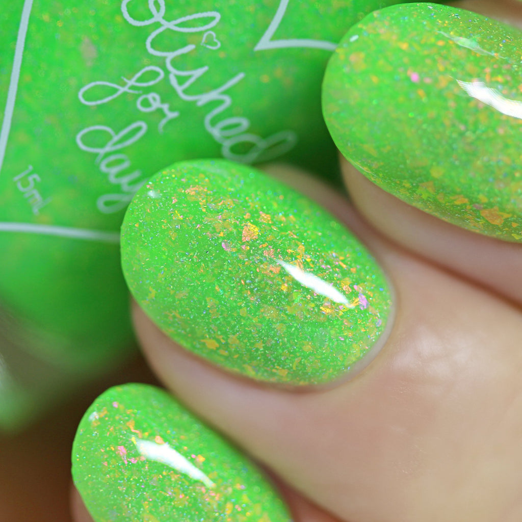 Polished for Days Oogie Boogie neon green nail polish The Nightmare Collection