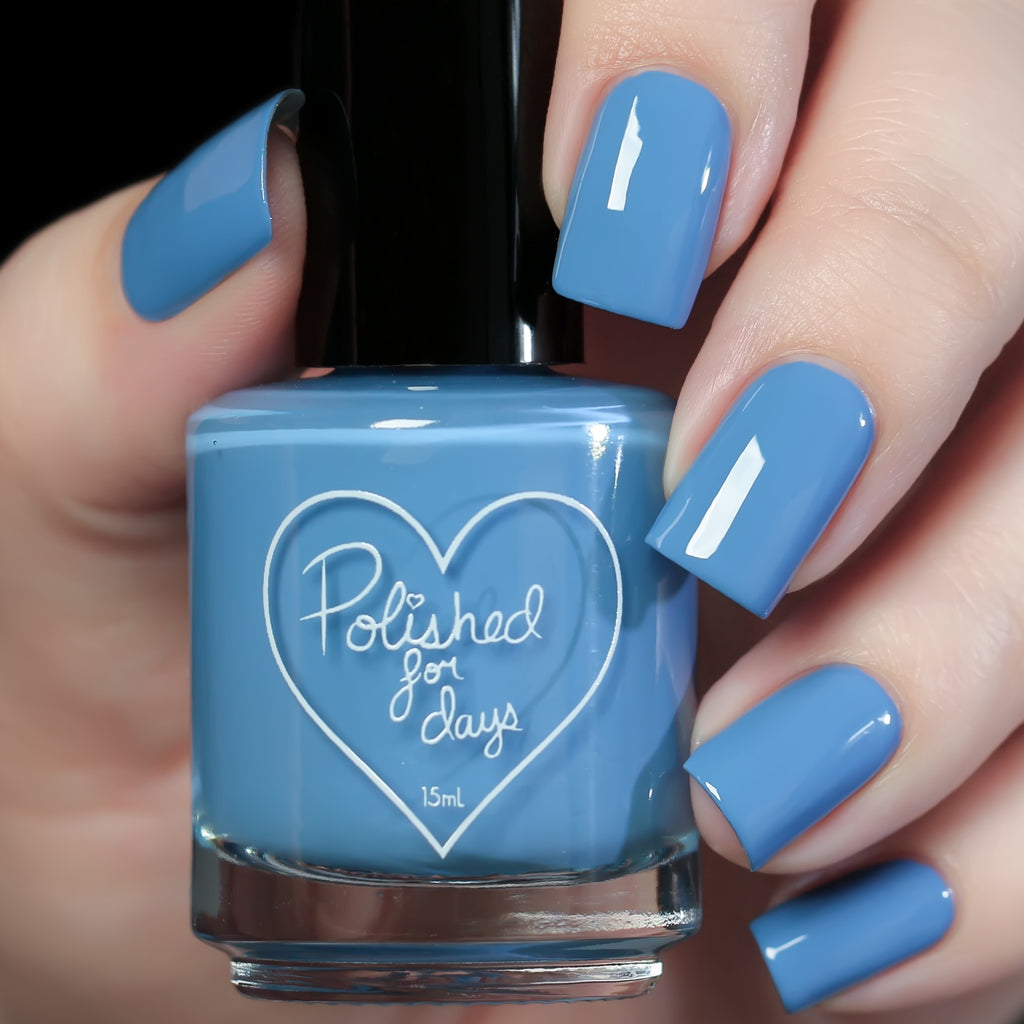 Polished for Days Serein cornflower blue creme nail polish swatch Enchanted Woods Collection