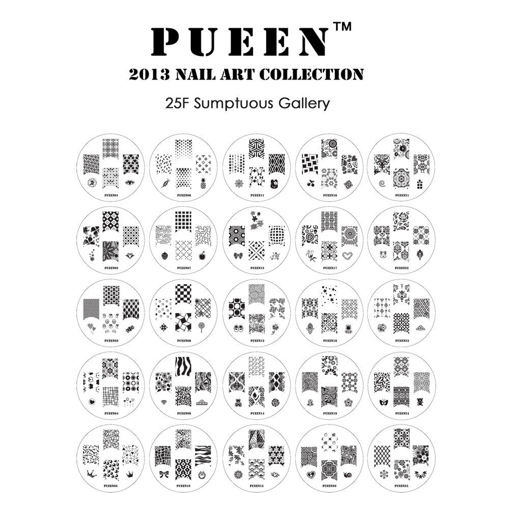 Pueen Sumptuous Nail Art Plate Set 24F stamping plate set