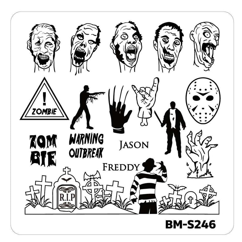 House of Horrors Stamping Plate - Zombie vs Icons