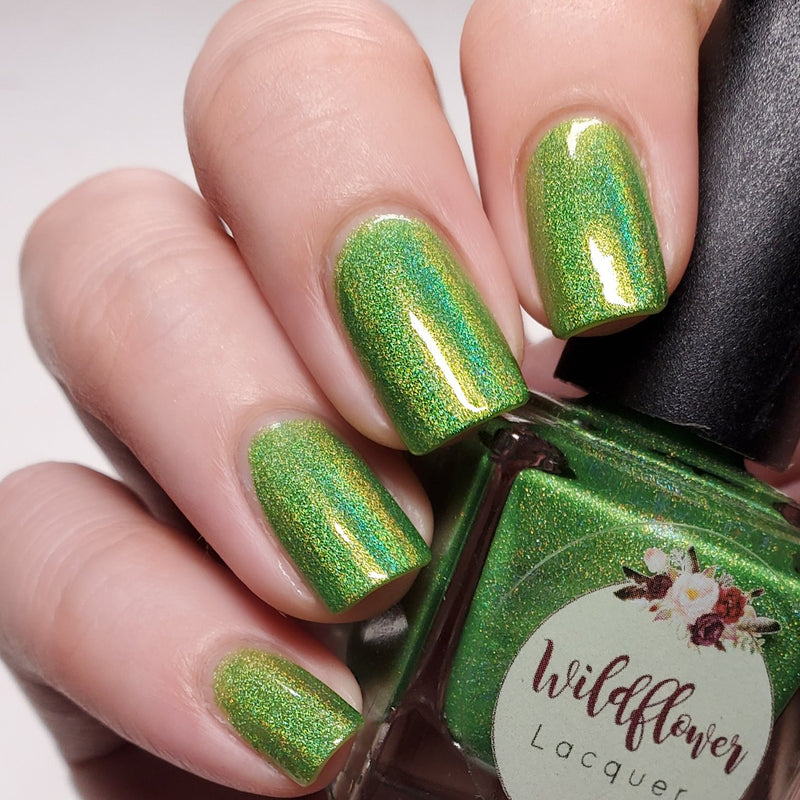 Wildflower Lacquer Margarita Island 2.0 lime green holographic nail polish swatch