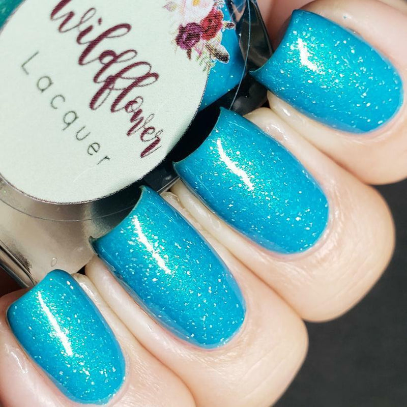 Wildflower Lacquer bright blue shimmer holographic nail polish swatch