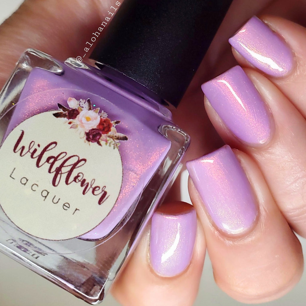 Wildflower Lacquer Succulent lavender shimmer nail polish swatch