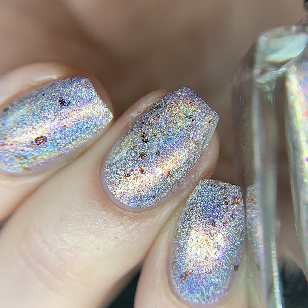 Wildflower Lacquer Wanderlust silver holographic nail polish swatch