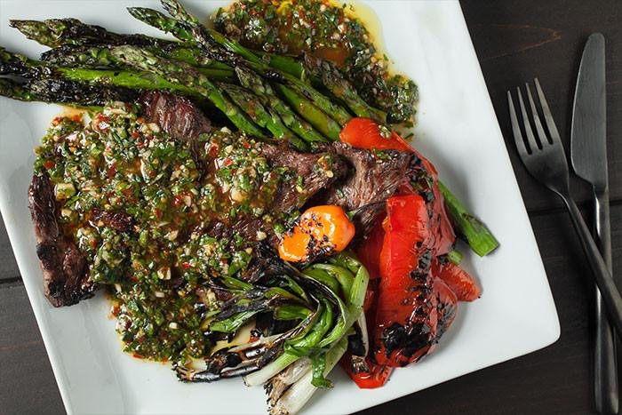 Grilled Skirt Steak with Tabanero Chimichurri & Market Vegetables  recipe - Tabanero