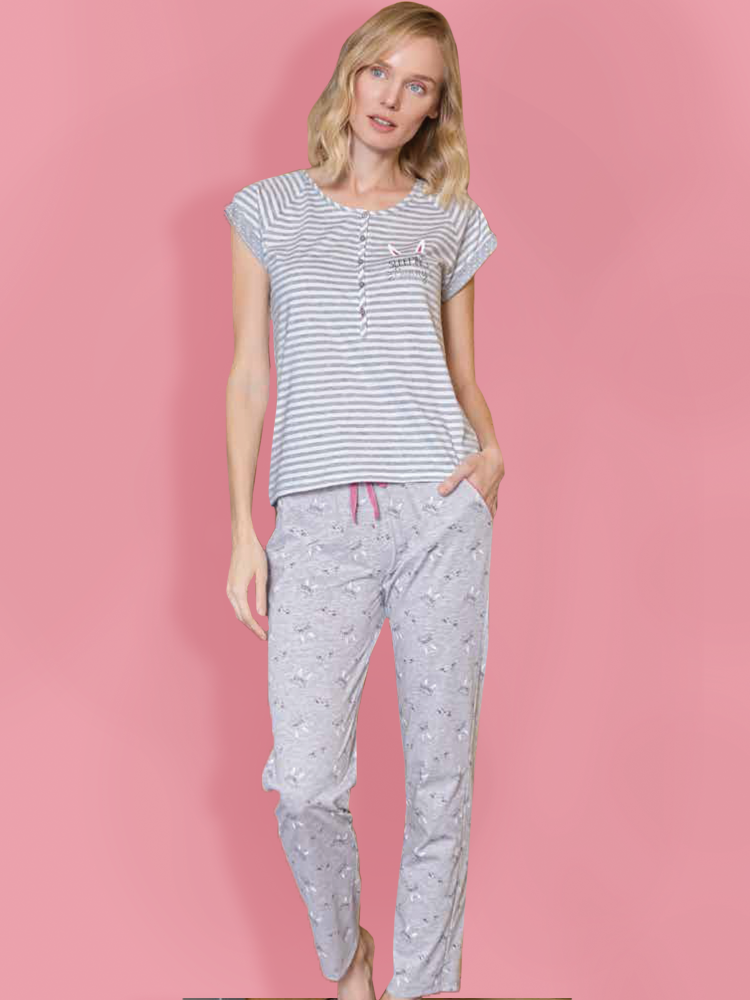 Pajamas Long Pants Set With Robe