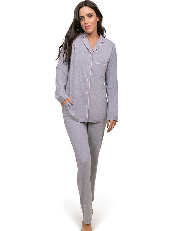 Long pjs set with front open
