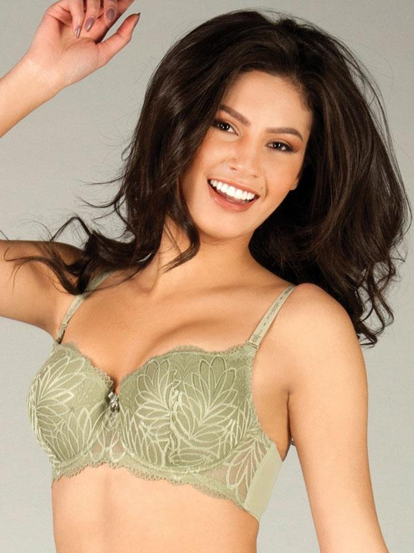 Soft Pad Bra with Leaf Embroidery