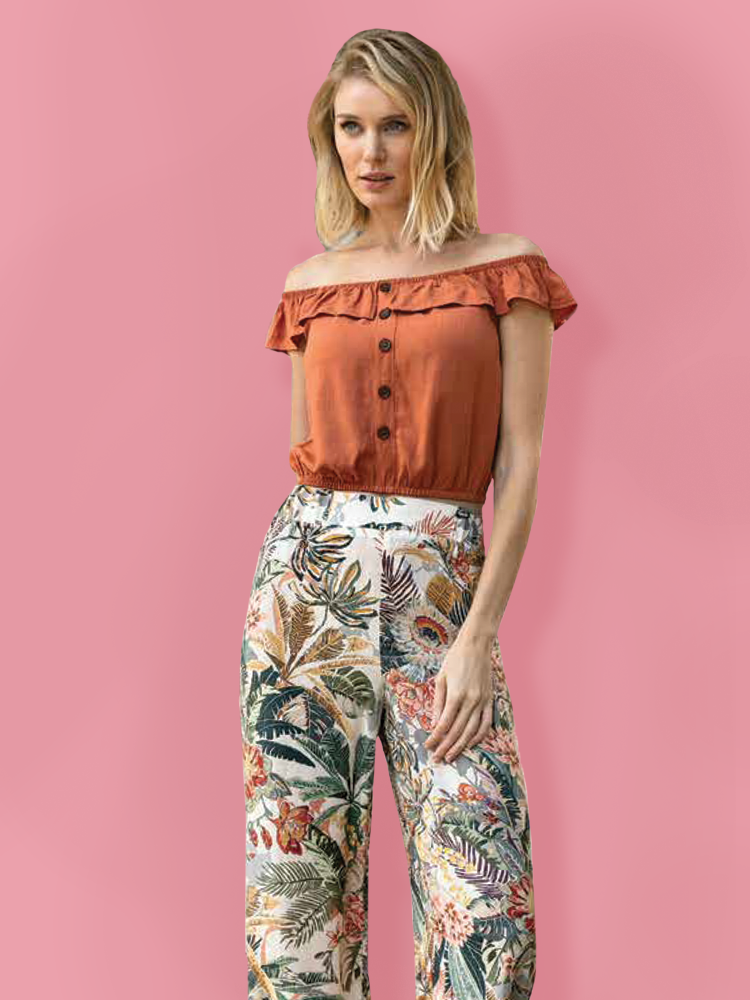 Open Shoulders Top & Tropical Pants