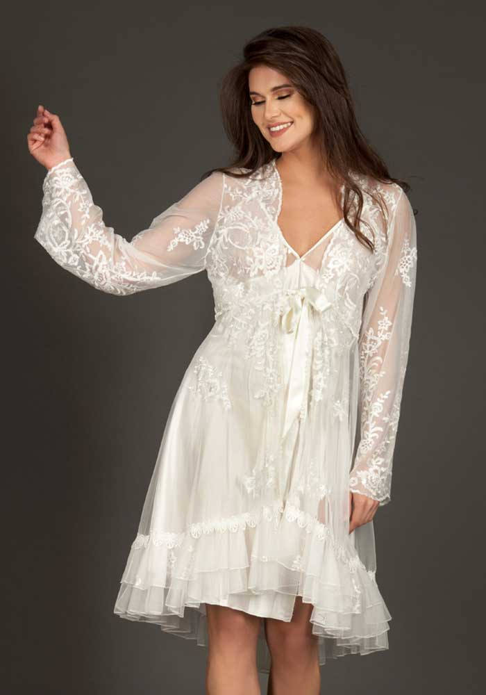 Bridal Short Dress with Robe