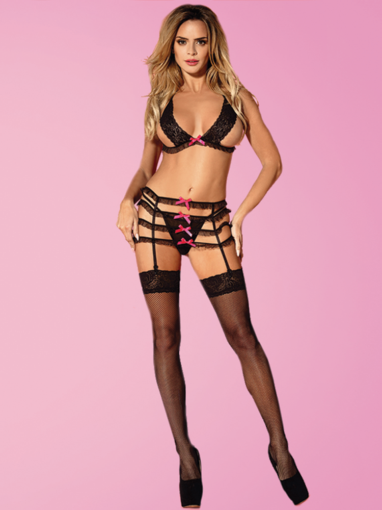Black Costume With Pink Bows