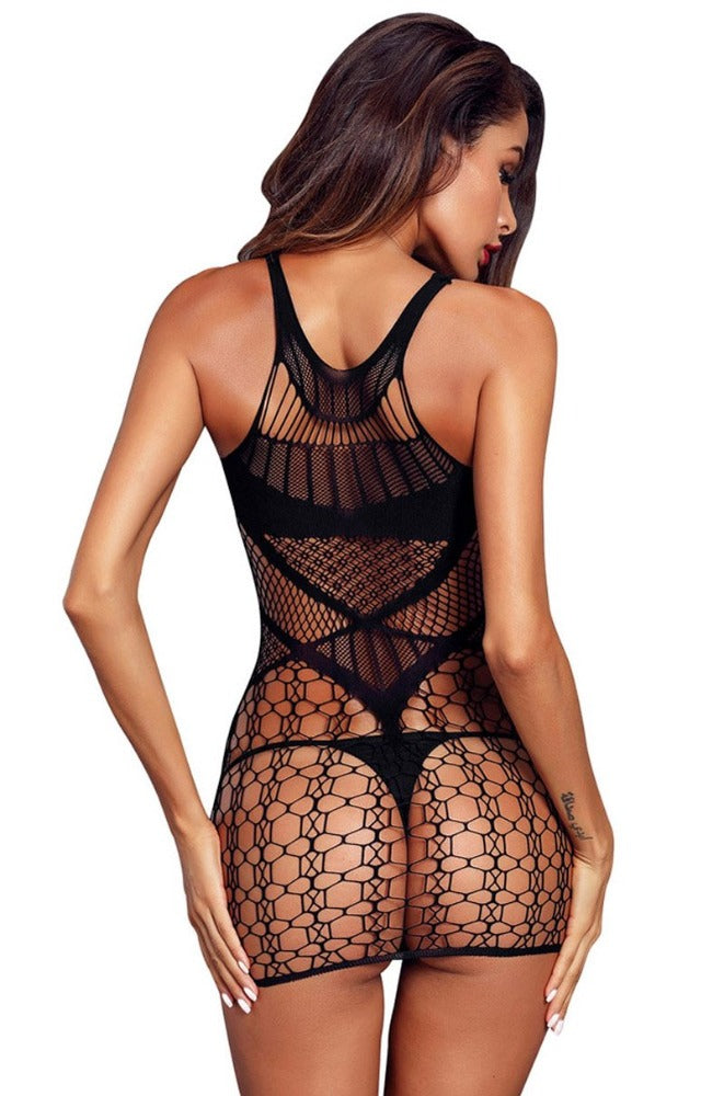 Dress Designed with Small Fish Net Body stocking