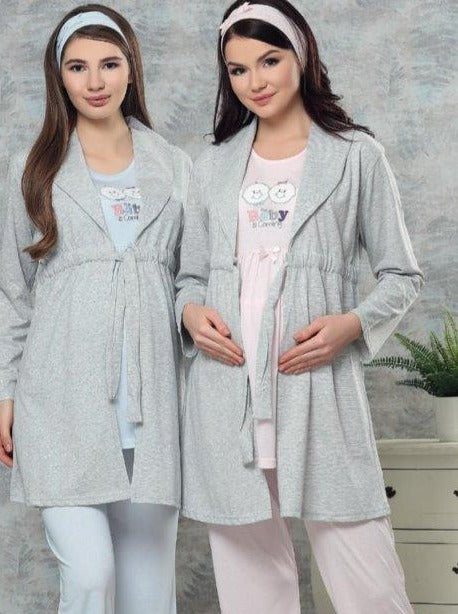 Cotton Maternity Pijamas with Warm Robe