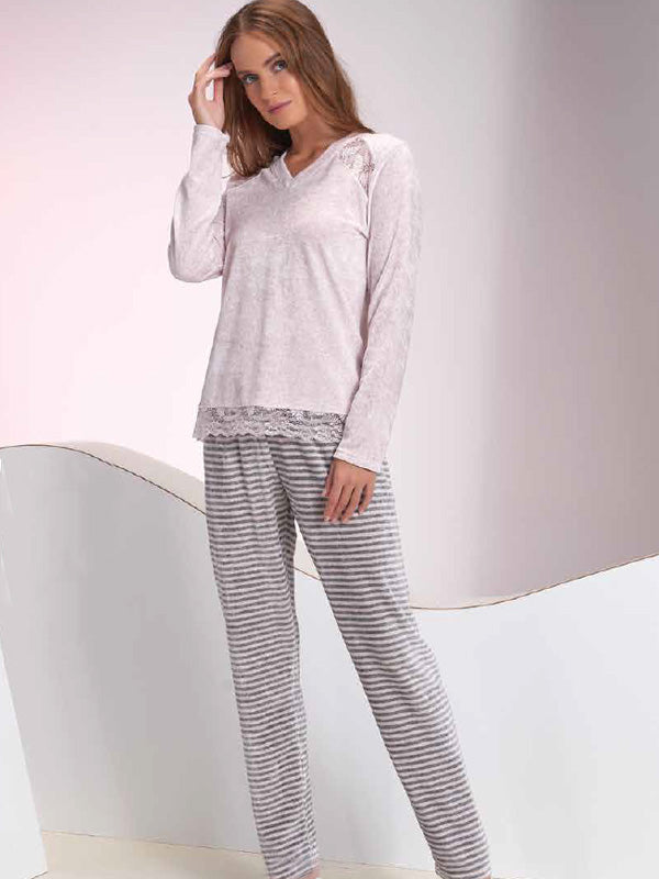 Striped velour pajamas with elegant lace