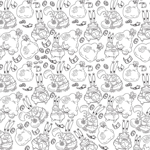 """""""A Five-Letter Word for Happiness...Money!"""" - Mr. Krabs Coloring Sheet"""