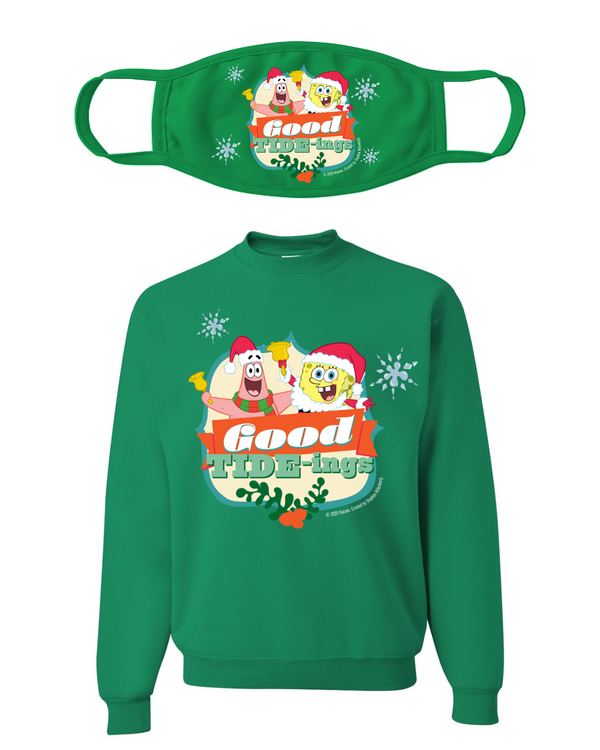 Good Tide-Ing Christmas Crewneck Sweatshirt-Mask Combo - SpongeBob SquarePants Official Shop