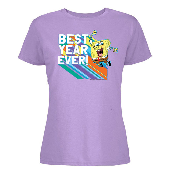 SpongeBob Best Year Ever Women's Cotton Shot Sleeve T-Shirt