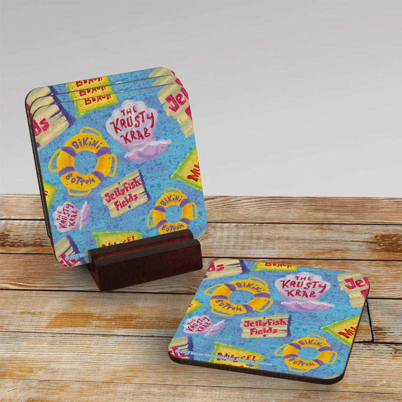 The Krusty Krab Pattern Coaster - Set of 4 - SpongeBob SquarePants Official Shop