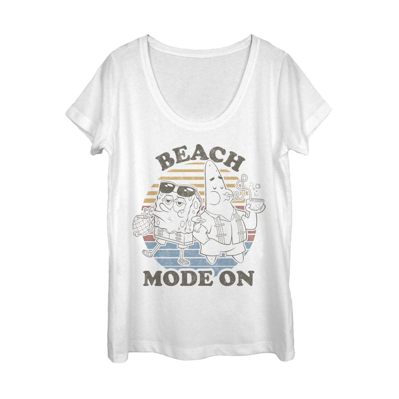 SpongeBob SquarePants Beach Mode Women's Scoop Neck T-Shirt - SpongeBob SquarePants Official Shop
